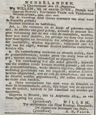 In 1814 was de afgifte van documenten nog kosteloos